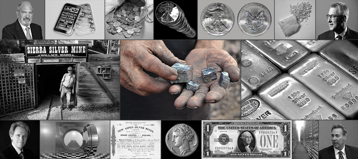 Collage of silver bullion types, a silver mine, a silver certificate, a silver mine share certificate, and silver analysts